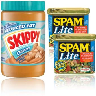 Skippy Reduced Fat Creamy Peanut Butter + Spam Lite Set of 2