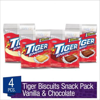 Tiger Biscuits Multipack Variety Pack Vanilla 252g (Pack of 2) Chocolate 210g (Pack of 2)