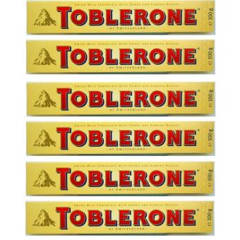 Toblerone Milk Chocolate with Honey and Almond 100g - Set of 6