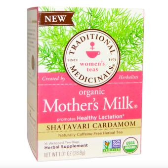 Traditional Medicinals Organic Mother's Milk, Shatavari Cardamom, Caffeine Free 16 Wrapped Tea Bags