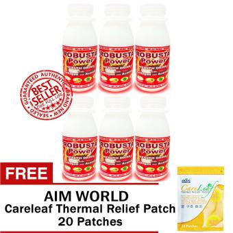 Vera Vita Robusta Power Health Drink with Collagen, Acerola and Buah Merah (6 Bottles) with FREE Aim Global Careleaf Thermal Relief Patch