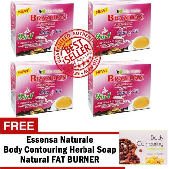 Vita Herbs 9 in 1 Brazilian Agaricus Coffee Slim and Fit 4 Boxes with FREE Body Contouring Soap