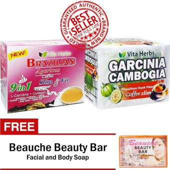Vita Herbs Brazilian Coffee (1 Box) and Vita Herbs Garcinia Cambogia (1 Box) FREE Beauche Beauty Bar