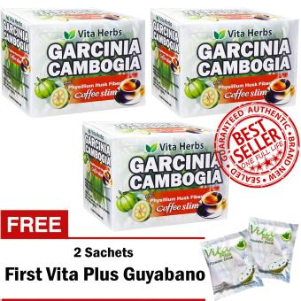 Vita Herbs Garcinia Cambogia Coffee Slim (3 Boxes) 10 Sachets/Box with FREE 2 Sachets First Vita Plus Guyabano Flavor