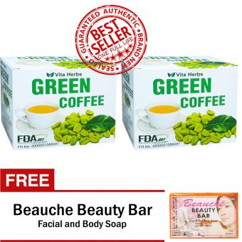 Vita Herbs Green Coffee 2 Boxes (10 Sachets Per Box) with FREE Beauche Beauty Bar