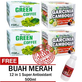 Vita Herbs Green Coffee (2 Boxes) + Vita Herbs Garcinia Cambogia Coffee Slim (2 Boxes) with FREE 12 in 1 Super Antioxidant Buah Merah