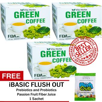 Vita Herbs Green Coffee (3 Boxes) FREE Flush Out Colon Cleanse 1 Sachet