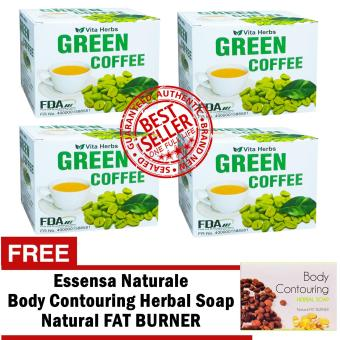 Vita Herbs Green Coffee 4 Boxes (10 Sachets Per Box) with FREE Essensa Natural Body Countouring Soap