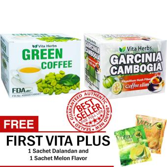 Vita Herbs Green Coffee + Vita Herbs Garcinia Cambogia Coffee Slim with FREE 2 First Vita Plus Sachets