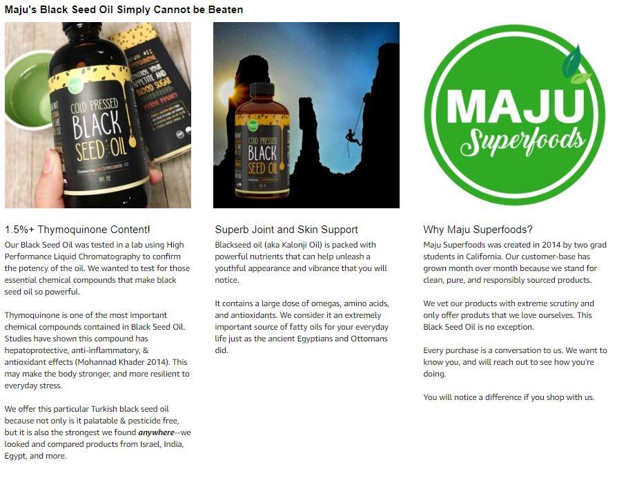 MAJU's Black Seed Oil: 1 55%+ Thymoquinone, Cold Pressed, no Pesticides,  100% Turkish Black Cumin Nigella Sativa Seed Oil (Better Than Organic),