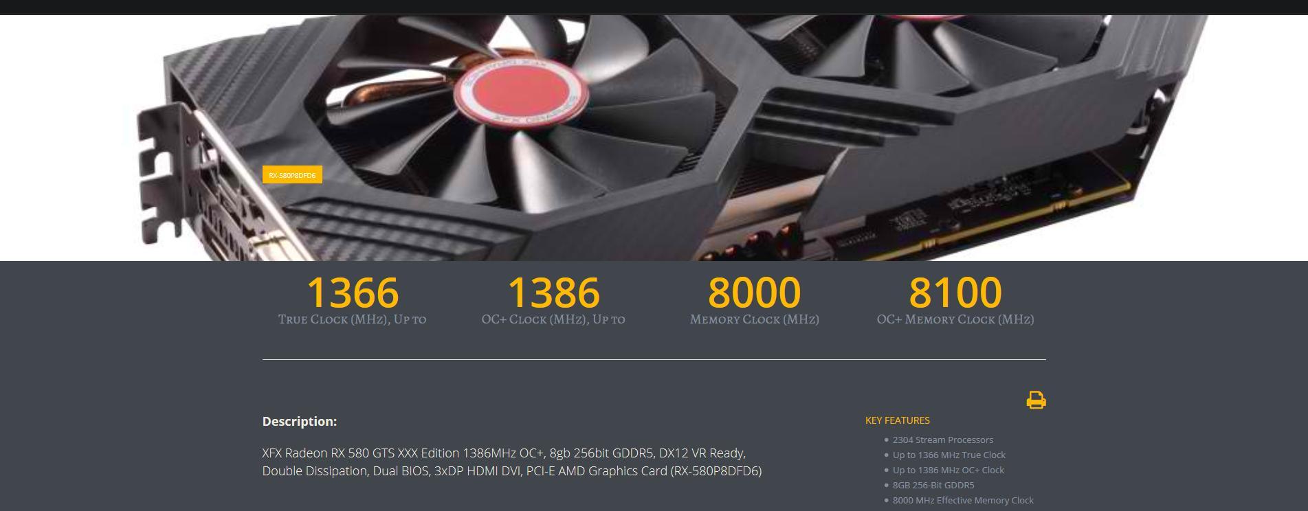 XFX RX580 8GB DDR5 GTS XXX Edition