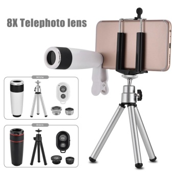 10 In 1 Phone Camera Lens Kit Universal Clip Fish Eye Wide AngleMacro 8X Telescope Lens Black - intl