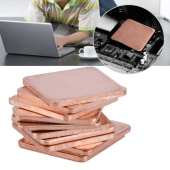 10 pcs 20 * 20mm Copper Sheet Shim Piece Heat Sink Thermal Pad ForGPU CPU Laptop 1.5mm - intl