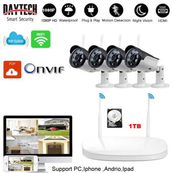 1080P Outdoor Wireless NVR Kit Wifi CCTV Kit Wireless Network IP Security Camera System 4PCS 1.3 Megapixel Wireless Indoor/Outdoor Bullet IP Cameras P2P Superior Night Vision With 1TB HDD