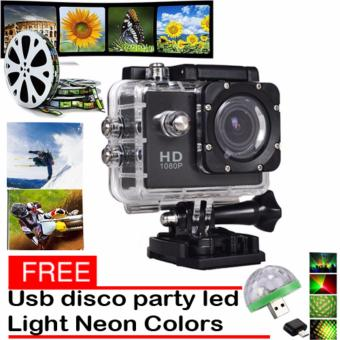 1080P Sports Cam HD DV Action Waterproof 30M Camera Camcorder(Black) with Free LED Small Magic Ball Disco Party USB ColorfulNeon Lights 4W