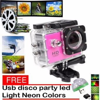 1080P Sports Cam HD DV Action Waterproof 30M Camera Camcorder(Pink) with Free LED Small Magic Ball Disco Party USB Colorful NeonLights 4W