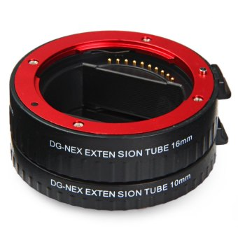 10mm 16mm Auto Focus Macro Extension DG Tube Set For Sony E-mount Camera (Red) - 2