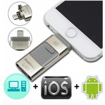 128GB 3 in 1 mini metal Usb Pen Drive Otg Flash Drive For iPhone 5/5s/5c/6/6 Plus/7/7plus/ipad/Android/PC_silver - intl