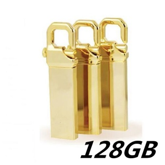 128GB USB 3.0 Hot Sale Waterproof Usb Flash Drive Mini Metal PenDrive Metal usb Flash Memory Stick-gold - intl