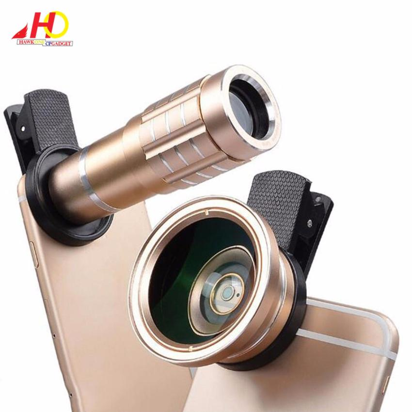 12X + 0.45X lenses 12X Zoom Clip-on Long Focus Telescope Lens withHD 37mm 0.45X Cell Phone Outer Wide Angle Lens Macro (Gold)
