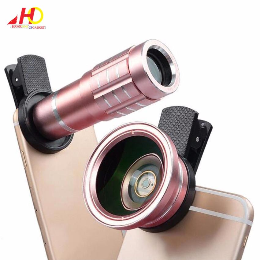12X + 0.45X lenses 12X Zoom Clip-on Long Focus Telescope Lens withHD 37mm 0.45X Cell Phone Outer Wide Angle Lens Macro (Rose Gold)