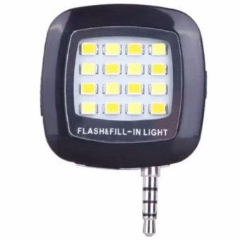 16-LED Mini Selfie Flash LED Light For SmartphoneIOS/Android(Black)