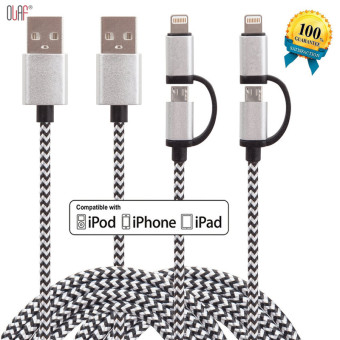 2 in 1 Fast charging Micro Usb Cable For Android & For PhoneData Charging Braided Charger Nylon Cord