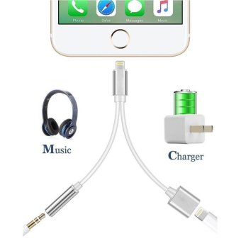 2 in 1 Lightning iPhone 7 Adapter, Lightning Adapter and Charger,Lightning to 3.5mm Aux Headphone Jack Audio Adapter for iphone 7 /7 Plus-No Calling Function and Music Control - intl