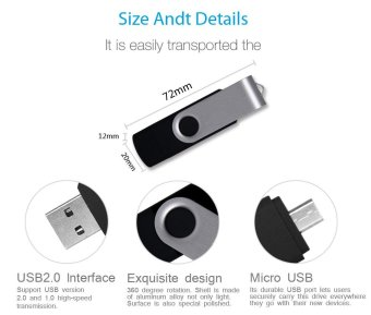 2 IN 1 OTG Pen Drive For Mobile Phone 256GB Memory Stick Android Smartphone Usb 2.0 U Disk USB Flash Drive Pendrive_Black - intl - 2