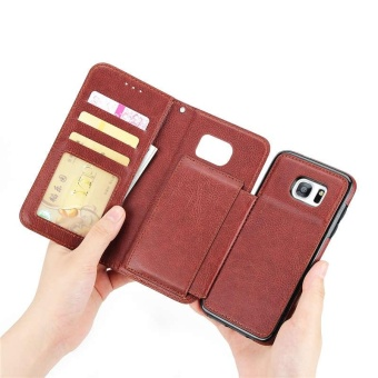 2 in 1 Premium Wallet Folio Flip PU Leather Case Protective Shell Magnetic Detachable Slim Back Cover Card Holder Slot Wrist Strap Multi-function Case Cover for Samsung Galaxy S7 Edge - intl - 2
