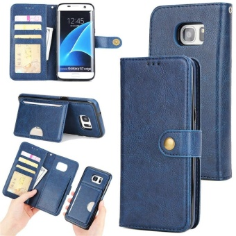 2 in 1 Premium Wallet Folio Flip PU Leather Case Protective ShellMagnetic Detachable Slim Back Cover Card Holder Slot Wrist StrapMulti-function Case Cover for Samsung Galaxy S7 Edge - intl