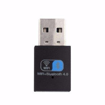 2 IN1 Bluetooth V4.0 USB Adapter Wifi Dongle 150Mbps Mini WirelessUSB WI-FI Adapter LAN WIFI Card Support Windows(Black) - intl - 2