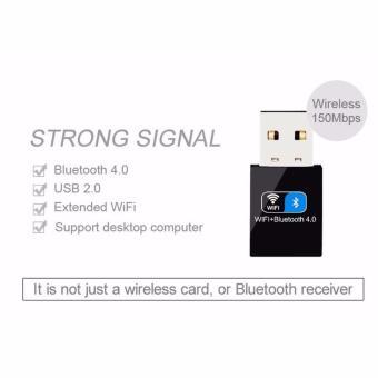 2 IN1 Bluetooth V4.0 USB Adapter Wifi Dongle 150Mbps Mini WirelessUSB WI-FI Adapter LAN WIFI Card Support Windows(Black) - intl - 5