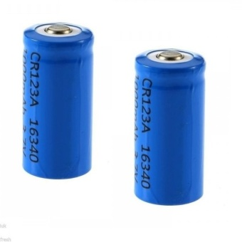2 Pieces 16340 3.7V Li-Ion Rechargeable Battery #0222 (Blue/Red)