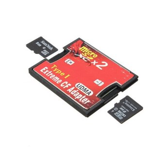 2 Port Micro SD TF SDHC To Type I 1 Compact Flash Card CF Reader Adapter