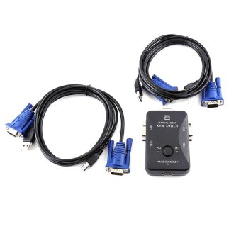 2 Port USB VGA KVM Switch Box And Cables for Computer SharingMonitor Keyboard Mouse - intl