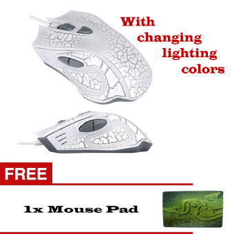 2400DPI Optical Adjustable 6D Wired Gaming Mouse (White) with FreeMousepad