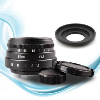 25mm f1.8 CC TV TV Lens + C mount Lens to Micro 4/3 Camera Adapter+ Lens Front and Rear Cap - intl