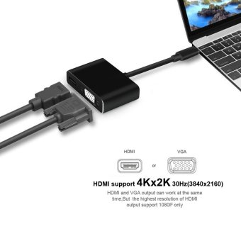 2IN1 Adapter Cable VGA Monitor + HDMI Dual Output Adapter Type C Cable HDMI Support for 4K X 2K 1080P VGA for TV Monitor Projector - intl - 4