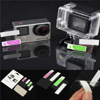 2in1 LCD Screen Protector + Housing Lens Protector Film For GoProhero 4 Silver on