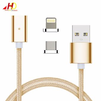 2in1 Magnetic Lightning and Micro USB Nylon Cable for iOs & Android (Gold)