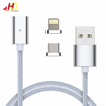 2in1 Magnetic Lightning and Micro USB Nylon Cable for iOs & Android (Silver)