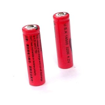 2pcs 14500 3.7 to 4.2v Li-Ion Rechargeable Battery #0225