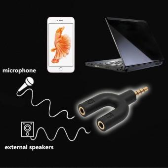 2Pcs 3.5mm Stereo Audio Jack Earphone Headphone 2 Way U SplitterAdapter - intl - 2