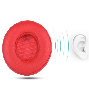 2Pcs Earpads Ear Pad Cushion Replacement for BEATS SOLO2.0 Wireless Headphone (Red) - intl
