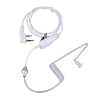 2Pin Acoustic Tube PTT Mic Earpiece for Baofeng Kenwood 2way Radio(White) - intl