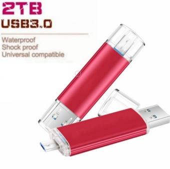 2TB USB 3.0 Flash Drive OTG 2TB Memory Stick For Android Phone Pen Drive Metal USB Flash Drive-Red - intl