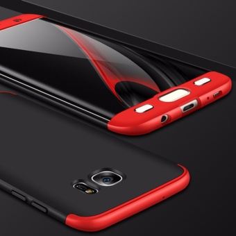 3 in 1 Double Dip 360? Full Protection Shockproof Ultra-thin Hard PC Cover Case for Samsung Galaxy S7 Edge (Black&Red) - intl