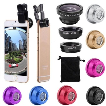 3 In 1 Fish Eye + Wide Angle + Macro Camera Lens Kit For Cell For iPhone - intl