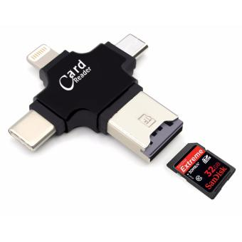 3 in 1 Micro SD Card Reader for iPhone Android and Type C with USBConnection (Black)